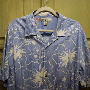 Tommy Bahama Men's Blue and White Silk  Camp Shirt